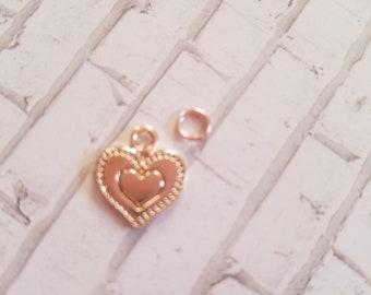 Rose gold heart charm