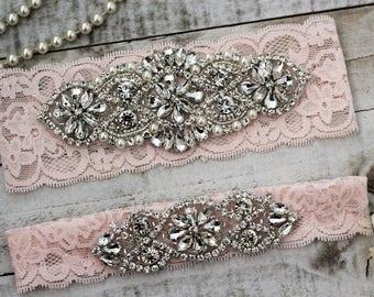 Blush Pink Wedding Garter Set NO SLIP grip vintage rhinestones, pearl and rhinestone garter set