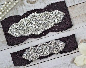 Plum Purple Wedding Garter Set NO SLIP grip vintage rhinestones pearl lace rhinestone