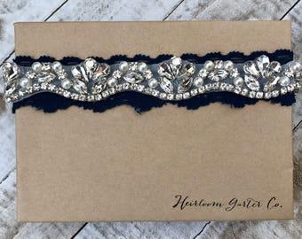 Navy Wedding Garter NO SLIP grip vintage rhinestones, rhinestone garter