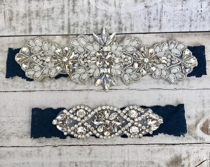 Vintage Bridal Garter, navy garter, NO SLIP Lace Wedding Garter Set, bridal garter set, vintage
