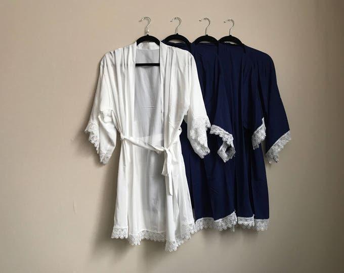 Bridesmaid Robe, Monogrammed Navy and Lace Bridesmaid Robes - The Perfect Bridesmaid Gift