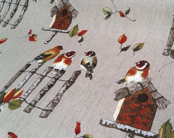 Bright fabric - birds - sold by the yard only - 100% linen