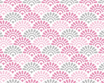 Fabric pink and gray, waves, sunrise fans, 1/2 meter