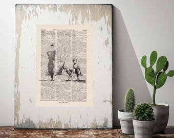 CURIOUS guys on antique book page - portrait print BANKSY