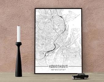 Copenhagen-Just a map-din A4/A3-Print