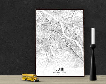 Bonn-Just a map-din A4/A3-Print