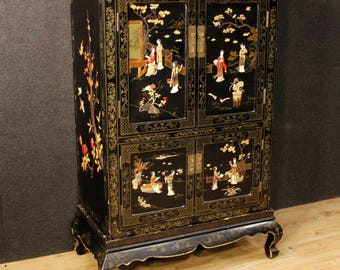 19th Century Asian Rare Yellow Lacquered Painted Flowers