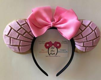 Pink Pan Dulce Concha Inspired Minnie Ears