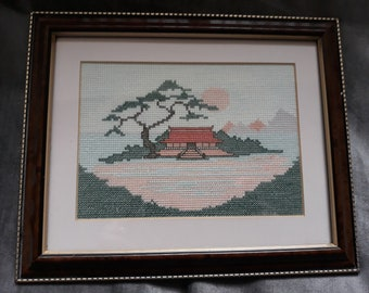 Vintage cross stitch embroidered Japanese temple, retro