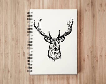Deer Notebook/Sketchbook Wire Bound - Blank pages
