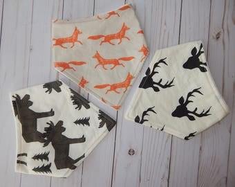 Bandana bibs boys, Foxes bibs, Deer bib, Antlers bibs, Woodland bibs, bandana bib set, Drool bibs, Baby shower gift