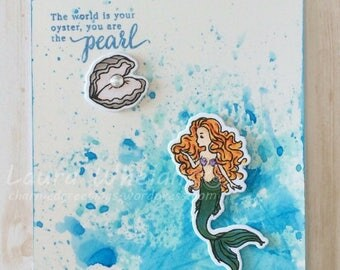 Handmade Watercolor Mermaid Card
