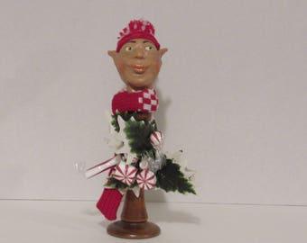 OOAK Art Doll, Christmas Elf Bust, Handmade Art, by Susan Massey