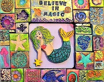 Mermaid, polymer clay, mosaic, colorful wall art, boho, mythical figure, art