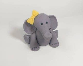 Fondant Elephant Cake Topper- Fondant Animal - Baby Cake Topper - Safari Party - Jungle Party - Birthday Cake Topper