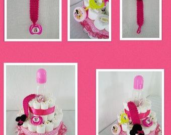Minnie Mouse 2 Tier Diaper Cake/Gift Arrangement