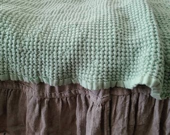 Linen throw blanket.Linen bed cover.linen sofa cover.linen beach blanket.Textured Lithuanian linen.Waffle linen blanket.linen baby blanket.