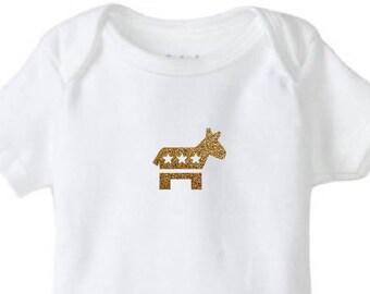 Future Democrat Donkey Gold Glitter Baby Bodysuit