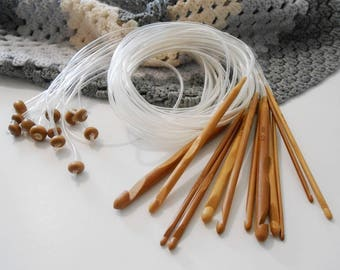 12 Afghan Crochet Hooks Carbonized Bamboo Crochet Hooks 3 to 10mm USA Sizes 2.5 to 15 Natural Wood Crochet Needles Length 1.2 mts 48 inches