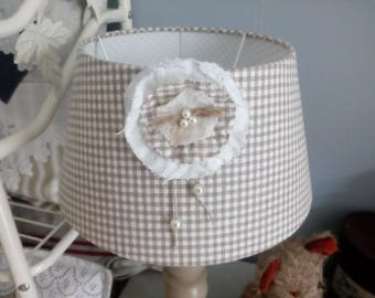 Vintage wooden painted and patinated with linen Lampshade lamp