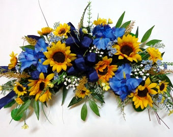 Yellow Sunflower-Blue Iris Floral Swag-Silk Sunflower Swag-Wall-Door Decoration-Home Wall Decor-Yellow-Blue Flower Swag-by Floramiagarden