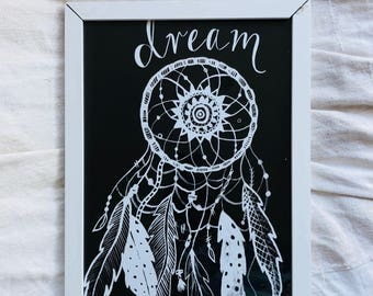 Dream Catcher Greeting Card, Dream Catcher Art, Black and White Art A3 Poster