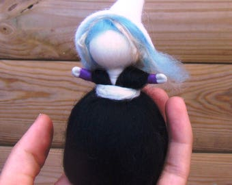 mini pagan doll, magic wool witch, mini felted dolls, steiner witch doll, black worry doll, felted elf girl, mini goth doll, wiccan kid gift