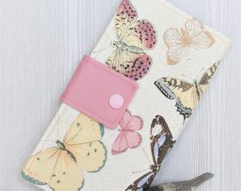 Pink Blue Butterflies slim womens clutch wallet, bifold handmade wallet, fabric womans wallet, credit card wallet, checkbook wallet