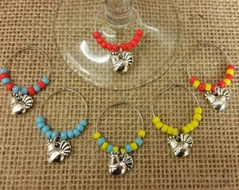 Funky chicken wine glass charms, chicken gift, accessory