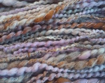 Branches of Lilac-spiral plied autowrapped hand spun art yarn merino exotic fibers mixed wool blend free shipping multicolored thick & thin