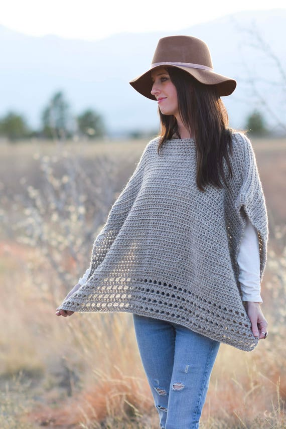 Alpaca Easy Crocheted Poncho Pattern Taupe Poncho Pattern Classic