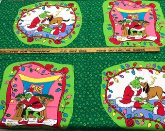 Rare Dr. Seuss How the Grinch Stole Christmas fabric for sewing or quilting