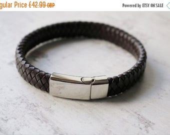 Summer Sale Personalised Mens Leather Bracelet -Custom Engraved Leather Bracelet - FREE ENGRAVING