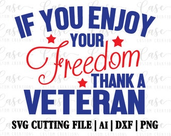 Thank a Veteran SVG Cutting FIle, AI, Dxf and PNG | Instant Download | Cricut and Silhouette | Freedome | Military | Red White Blue | Stars