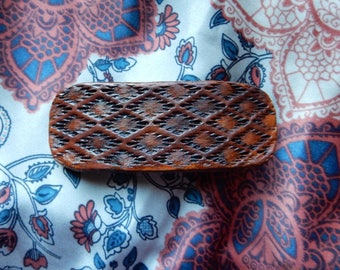 Southwest Leather Hair Barrette