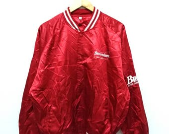Hot Sale!!! Rare Vintage 90s BUDWEISER King Of Beers Big Logo Varsity Jacket Hip Hop Skate Swag Medium (F) Size
