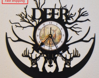 Hunting/Deer themed vinyl record clock **FREE SHIPPING**