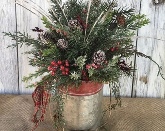 A Galvanized Tin Winter Arrangement with Bail Handle, Christmas Centerpiece, Holiday Arrangement, FAAP, Winter Centerpiece, Christmas Decor