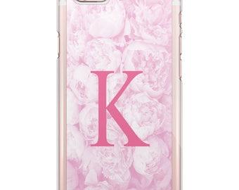 Custom Monogrammed Peony Rose Phone Case iPhone, Samsung