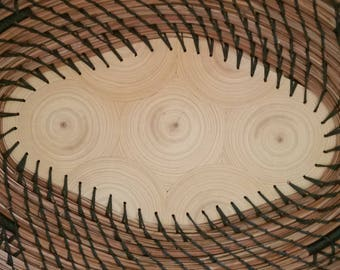 Florida Cypress Wood bullseye center Pine Needle Basket - Made in Florida from Hurricane Irma - Black Natural Repurpose 89.00