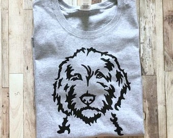 Doodle Face Silhouette - Womens Dog Mom Shirt - Goldendoodle Labradoodle Shirt