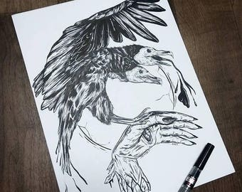 On Sale Vulture and hand Print