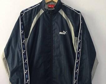 SALE 25% Vintage 90s Puma Windbreaker Jacket Stripes Hip Hop