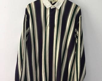 SALE 25% Vintage 90s J-Crew Rugby Jersey Stripes Polo Ralph Lauren Size XL