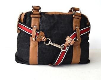 Vintage Tommy Hilfiger Bag Hobo Blue Brown Shoulder Bag Purse Bohemian Tote  Bag