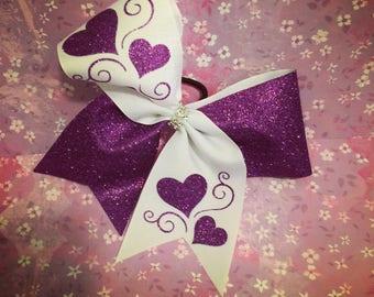 Glitter heart cheer bow