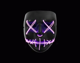 "Light Up Mask ""Stitched"" Pink Led (EDM, Rave, Party, DJ, Halloween, Costume, Movie)"