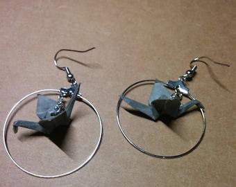 """""""Birds in flight"""" earrings in hoop (G_016)"""