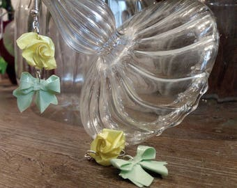 """Earrings """"Roses and bows"""" yellow and green (RON_001)"""